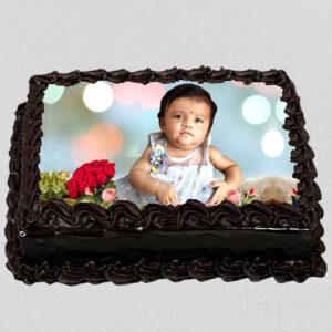 Decorated Chocolate Photo Cake