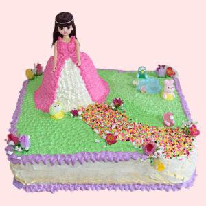 Floral Path Pineapple Barbie Cake