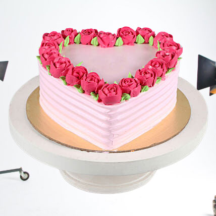 Heart Chocolate Cream Rose Cake