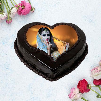 Heart Shaped Truffle Photo Cake