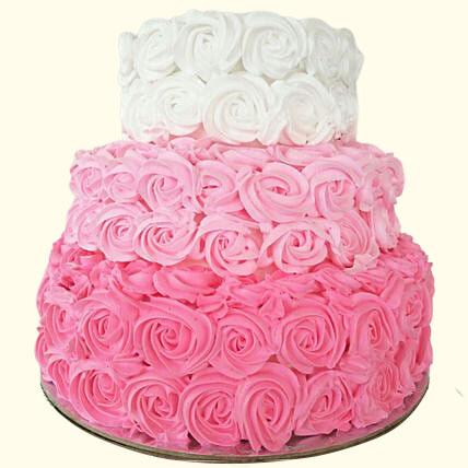 Pink Floral Chocolate Cream Cake