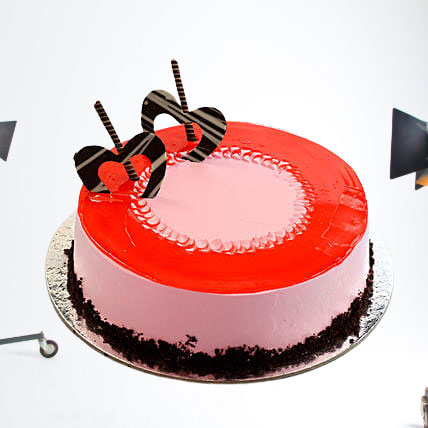 Red Glaze Strawberry Cake