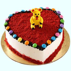 Sensual Red Velvet Teddy Fondant Cake
