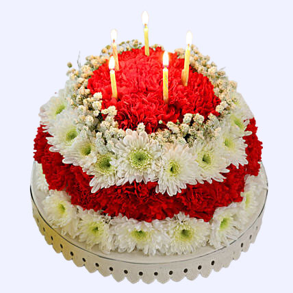 Splendid Red and White Floral Cake