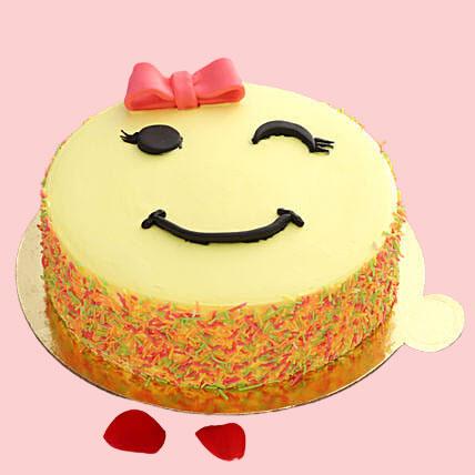 cute-winking-emoji-butter-scotch-cake