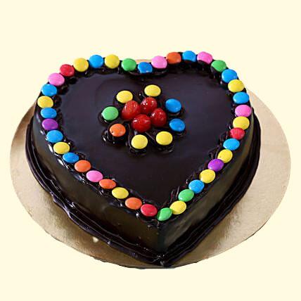 Heart Shaped With Gems Truffle Cake