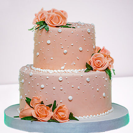 Peach Roses Truffle 2 Tier Cake