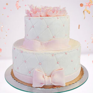 Pink Bow 2 Tier Cake