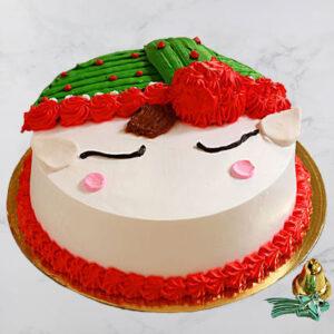 Santa With Hat Pineapple Christmas Cake