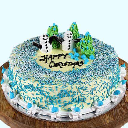 Snowman & Tree Chocolate Christmas Cake