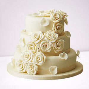 White Rose Wedding Chocolate 3 Tier Cake