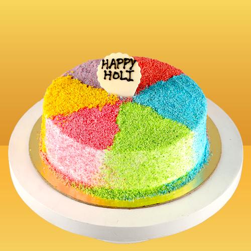 Holi Colourful Vanilla Cake