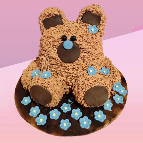 Teddy With Flower Cake