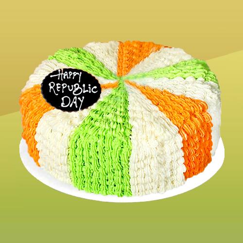 Tri Color Republic Day Vanilla Cake