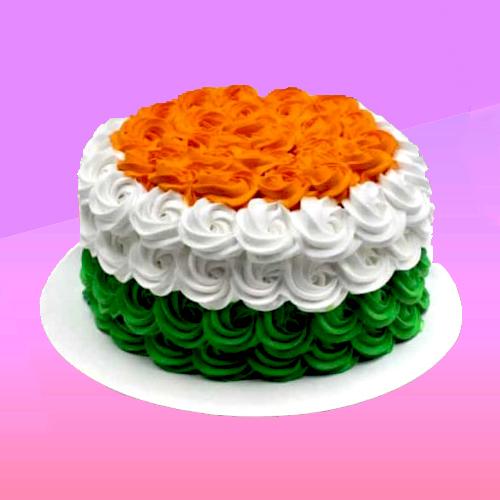 tricolor floral cake