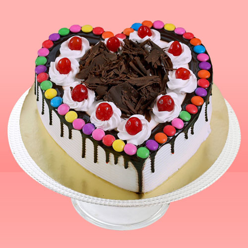 Black Forest Gems Decorated Heart Cake