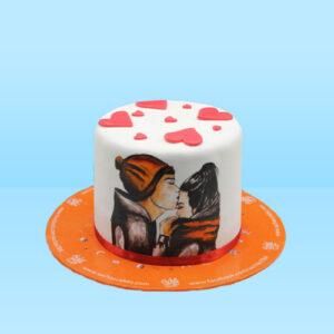 Love Theme Hand Painting cake