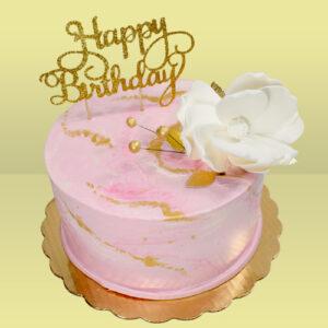 Marble Magnolia Birthday cake